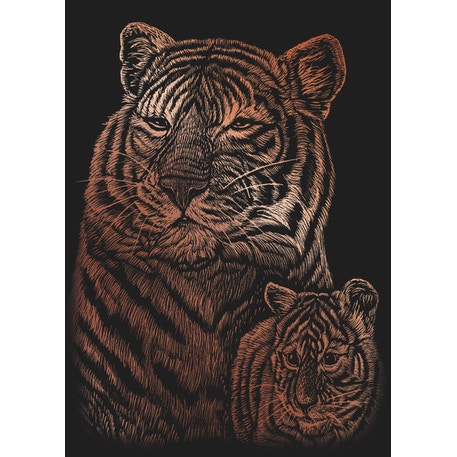 Royal & Langnickel Scraperfoil Copper Tiger & Cub Mini | Best prices at Cass Art