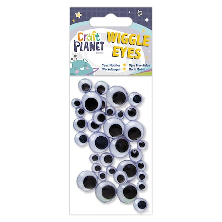 Craft Planet Round Black and White Wiggle Eyes Pack of 40   Cass Art