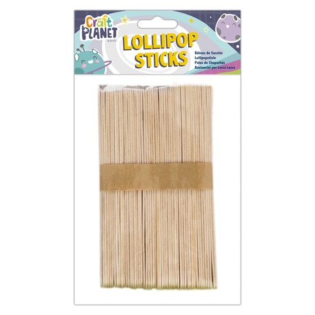 Craft Planet Extra Large Natural Lollipop Sticks | Cass Art