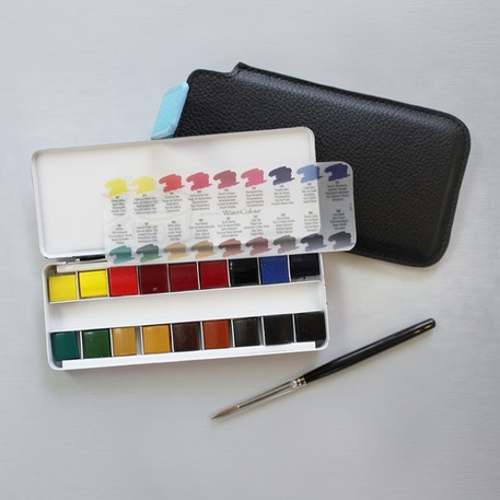 Professional Watercolour Quarter Pan & Brush in Travel Pouch | Cass Art