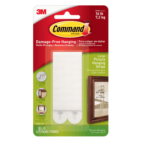 Command Large Picture Hanging Strips Pack of 4 | Cass Art