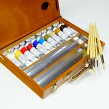 Luxury Wooden Oil Set with Michael Harding Colours, Brushes & Box - Cass Art Exclusive