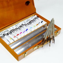 Luxury Wooden Acrylic Set with Liquitex Paint, Brushes & Box - Cass Art Exclusive