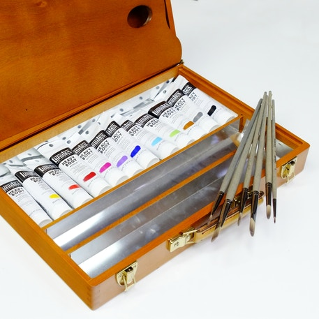 Luxury Wooden Acrylic Set with Liquitex Paint, Brushes & Box - Cass Art Exclusive | Cass Art