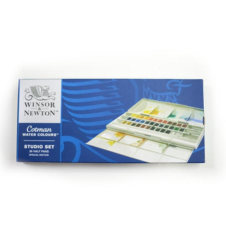 Winsor & Newton Cotman (Including 2 Artist's quality) Watercolour Studio set of 36 Half Pan | Winsor & Newton | Cass Art