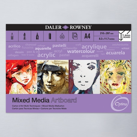 Daler Rowney Optima Mixed Media Artboard 10 Sheets A4 | Cass Art