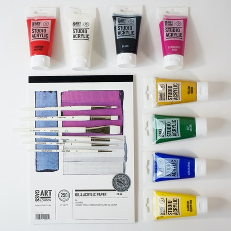 Deana Kim Acrylic Painting Set with Paints, Paper & Brushes   Cass Art