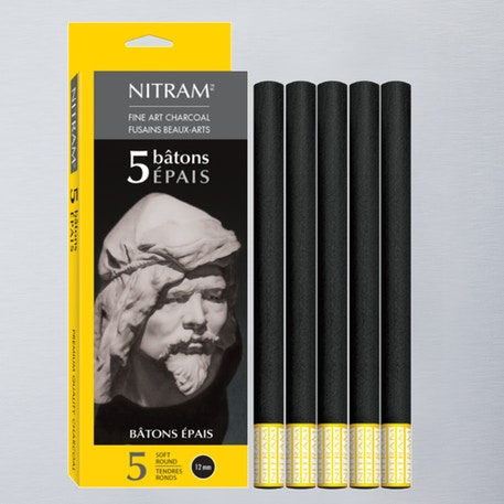 Nitram Batons Extra Soft Round 12mm Pack of 5 | Cass Art