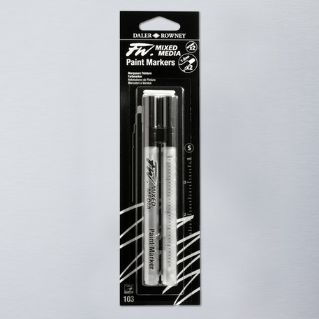 Daler Rowney FW Small Round Empty Markers + 2 Nibs 1-2mm Set of 2 | Cass Art