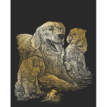 Royal & Langnickel Scraperfoil Gold Retriever & Puppies | Cass Art