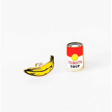 Yellow Owl Workshop Pop Art Banana & Soup Earrings | Cass Art