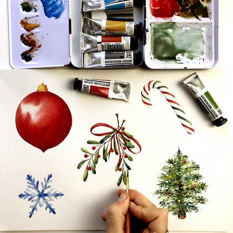 10th December, Introduction to watercolour: Paint your own Christmas cards! | Cass Art