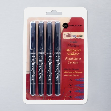 Manuscript Calligraphy Markers Set of 4 Black | Cass Art
