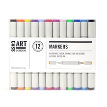 Cass Art Marker Set of 12 - Assorted Colours