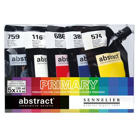 Sennelier Abstract Intro 120ml Primary Colours Set of 5 | Acrylic Paint | Cass Art