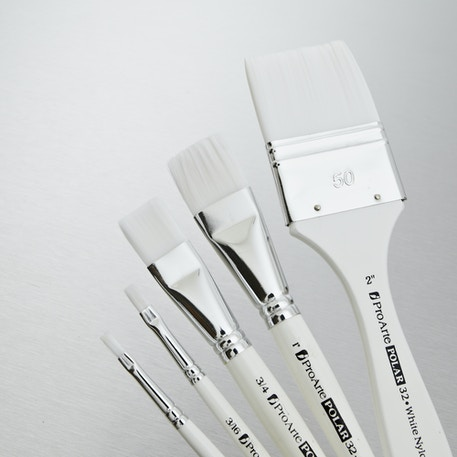 Pro Arte Polar White Nylon Brush Flat Series 32 | Professional Brushes | Cass Art