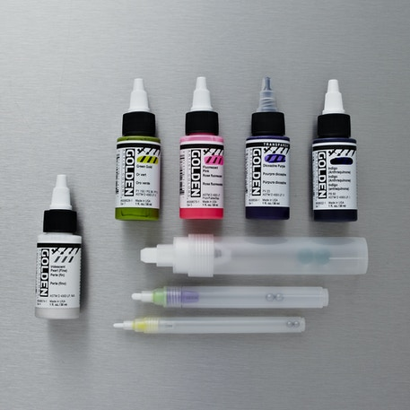 Golden High Flow Empty Markers and Acrylic Ink 30ml Set | Cass Art