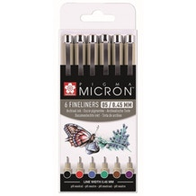 Sakura Pigma Micron Fineliner Pens 05 / 0.45mm Assorted Basic Colours Set of 6