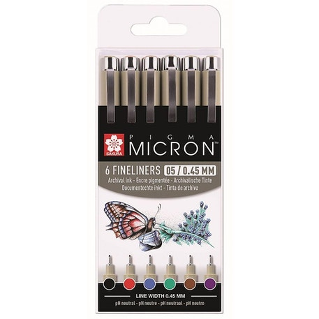 Sakura Pigma Micron Fineliner Pens 05 / 0.45mm Assorted Basic Colours Set of 6 | Cass Art