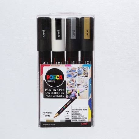 Posca Paint Marker PC-5M 1.8-2.5mm Mono Tones Set of 4 | Cass Art