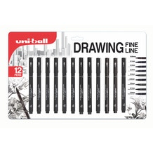 Uni-ball PIN Fineliners Black Set of 12
