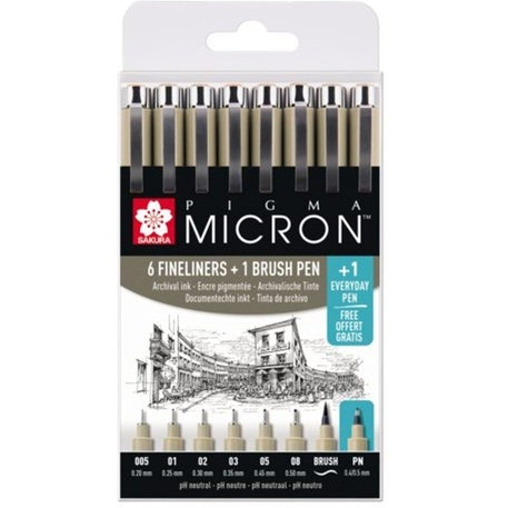 Sakura Pigma Micron 6 Fineliner Pens and 1 Brush Pen with Free Everyday Pen (Set of 8) | Cass Art