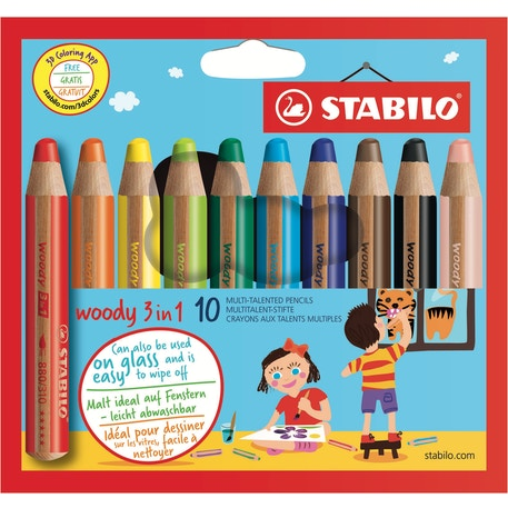 STABILO woody 3-in-1 Colour Pencil Wallet Set of 10 | Kids Pencils