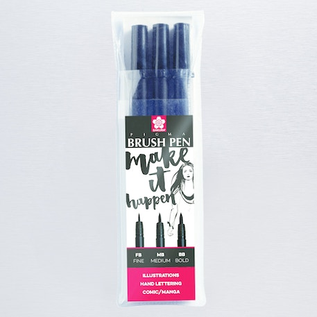 Sakura Pigma Brush Pen Black Set of 3 | Cass Art