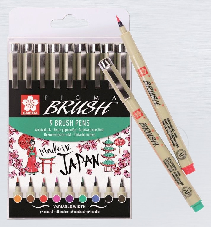 Sakura Pigma Brush Set assortment 9 colors New!