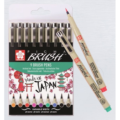 Sakura Pigma Brush Wallet 9 Assorted | Cass Art