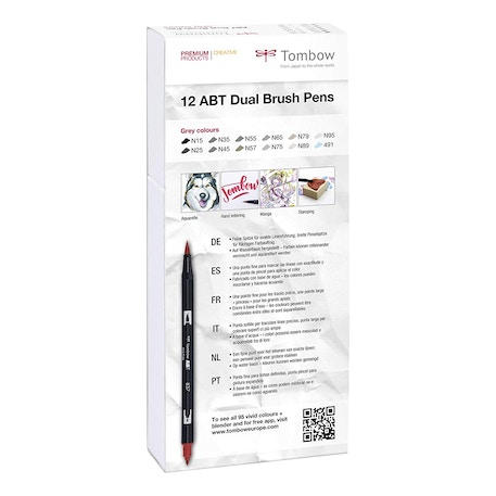 Tombow Dual Brush Pens Grey Colours Set of 12 | Cass Art