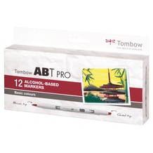 Tombow ABT Pro Dual Brush Pen Basic Colours Set of 12