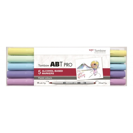 Tombow ABT Pro Dual Brush Pen Pastel Colours Set of 5 | Cass Art