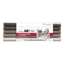 Tombow ABT Pro Dual Brush Pen Warm Grey Colours Set of 5