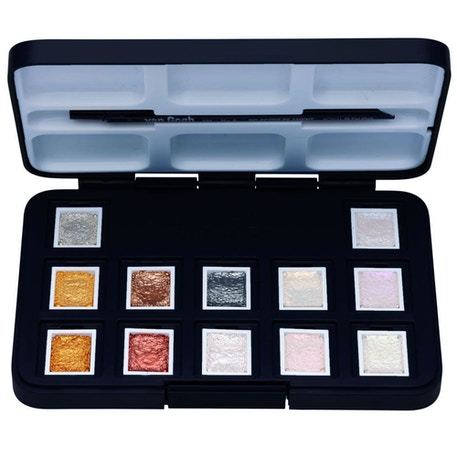 Van Gogh Watercolour Pocket Box Metallic & Interference Colours Set of 12 | Cass Art