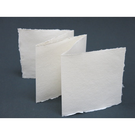 Khadi White Zig Zag Card Paper 15 x 15cm Pack of 5 | Cass Art