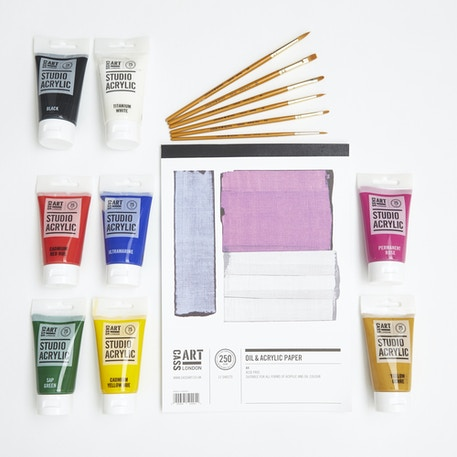 Starter Acrylic Set with Paint, Brushes & Canvas Paper | Cass Art