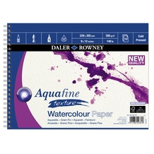 Daler Rowney Aquafine Cold Pressed Watercolour Spiral Pad 300gsm