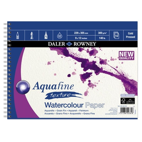 Daler Rowney Aquafine Cold Pressed Watercolour Spiral Pad 300gsm | Cass Art