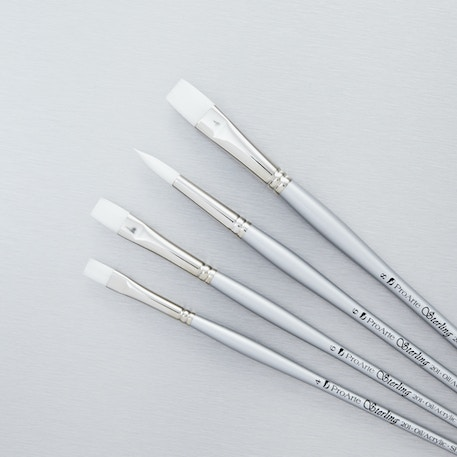 Pro Arte Sterling Synthetic Acrylic & Oil Brush Series 201 Set of 4 | Cass Art Exclusive