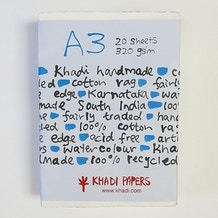 Khadi White Rag Paper 320gsm A3 Pack of 20 Sheets