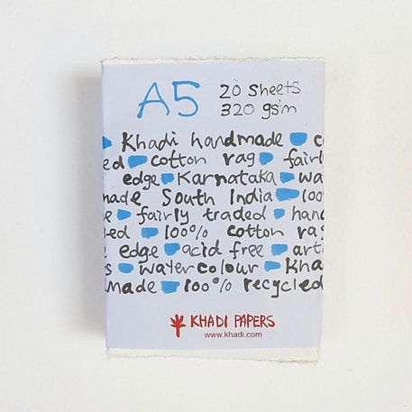 Khadi White Rag Paper 320gsm A5 Pack of 20 Sheets | Cass Art