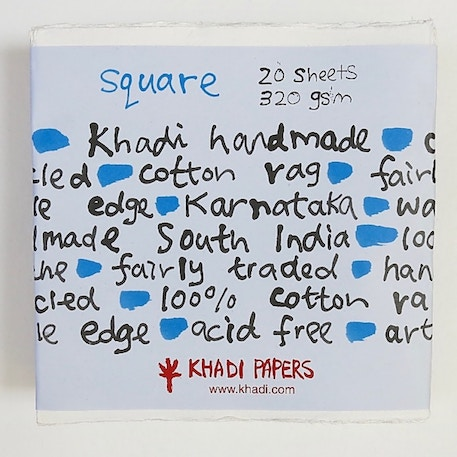 Khadi White Paper Square 320gsm 30cm Pack of 20 Sheets | Cass Art