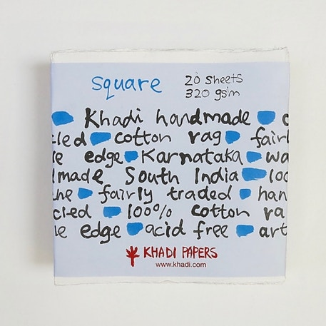 Khadi White Rag Paper 320gsm Square Pack of 20 Sheets | Cass Art