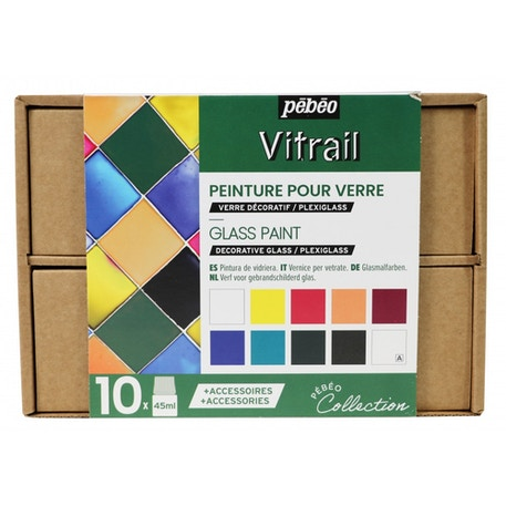 Pebeo Vitrail Glass Painting Collection 45ml Assorted Colours Set of 10