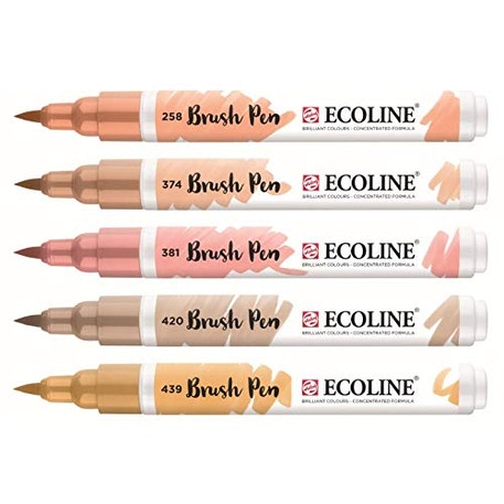 Ecoline Watercolour Brush Pen Beige Pink Set of 5 | Cass Art