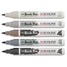 Ecoline Watercolour Brush Pen Grey Set of 5