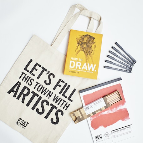 Drawing Gift Set with Paper, Pencils, Pens, Book and Gift Bag | Cass Art