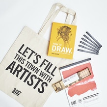 The Drawing Gift Set with Paper, Pencils, Pens, Book and Gift Bag