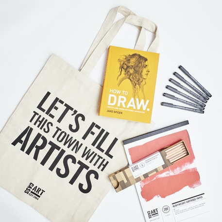 The Drawing Gift Set with Paper, Pencils, Pens, Book and Gift Bag | Cass Art
